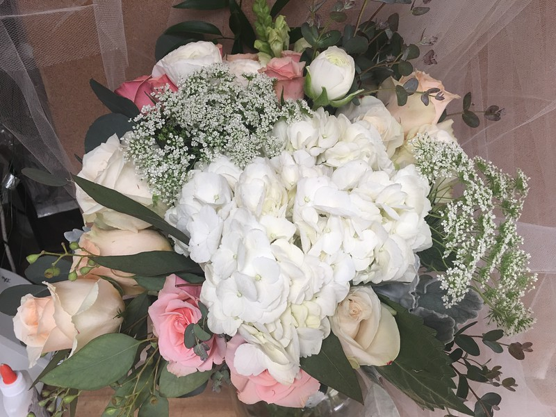 Peach roses- white hydrangea Queen Anne's lace $135