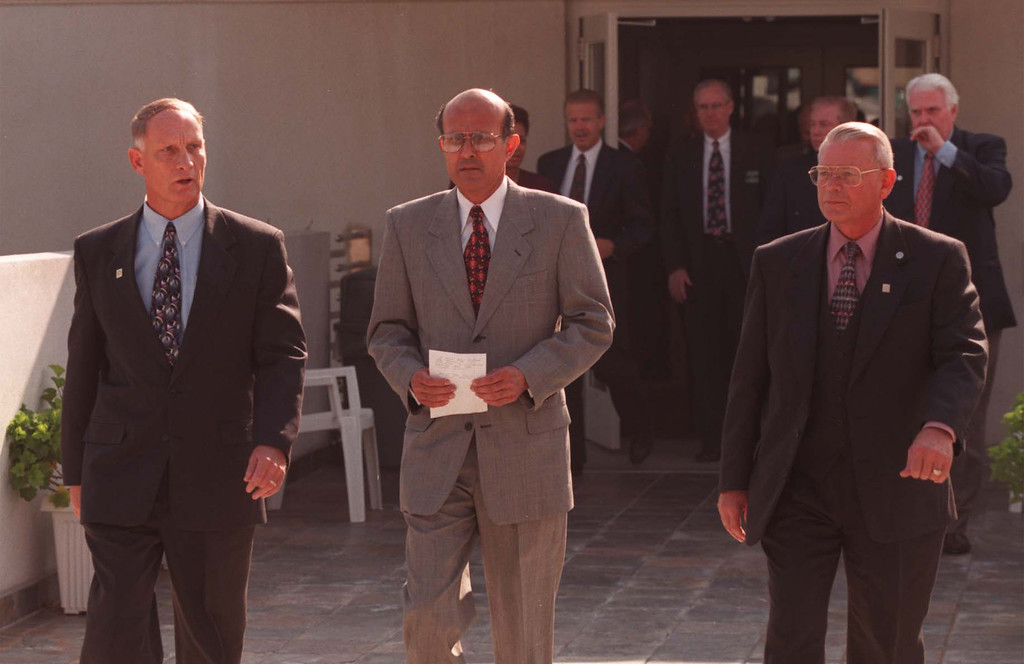 . From left, interim Sheriff Jerry Harper, Sheriff-elect Lee Baca and Region 1 Chief Paul Myron, Baca\'s choice for undersheriff, prepare to hold a news conference Wednesday.  November 4, 1998  (Los Angeles Daily News file photo)