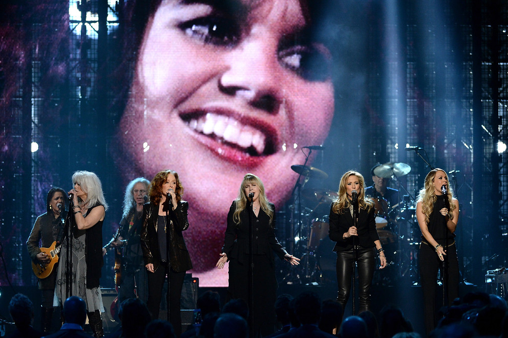 . (L-R) Emmylou Harris, Bonnie Raitt, Stevie Nicks, Sheryl Crow and Carrie Underwood perform onstage at the 29th Annual Rock And Roll Hall Of Fame Induction Ceremony at Barclays Center of Brooklyn on April 10, 2014 in New York City.  (Photo by Larry Busacca/Getty Images)