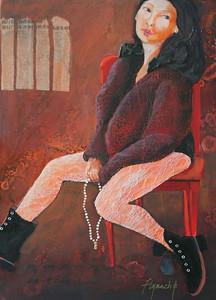 """Imogene is Bored"" (mixed media) by Lynn Chatman"