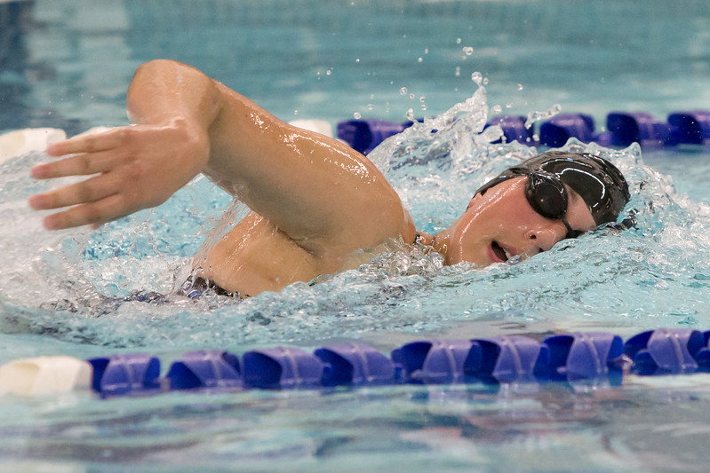 Southington's Kara Zazzaro swims the 200 freestyle Wednesday at the YMCA in Southington September 27, 2017 | Justin Weekes / For the Record-Journal