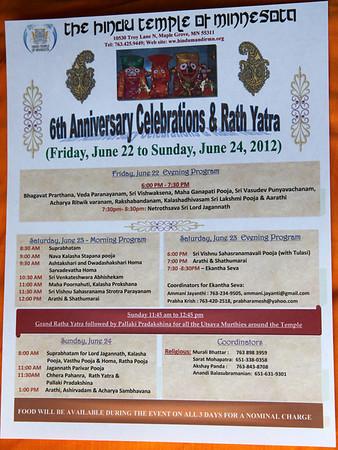 6th Anniversary & Ratha Yathra June 22-24, 2012 (Photos by Bala)
