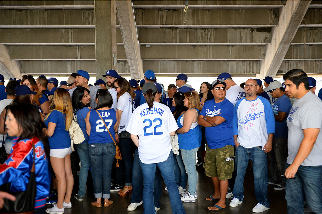 . People wait in concession lines at the Dodgers home opener, Friday, April 4, 2014, at Dodger Stadium. (Photo by Michael Owen Baker/L.A. Daily News)