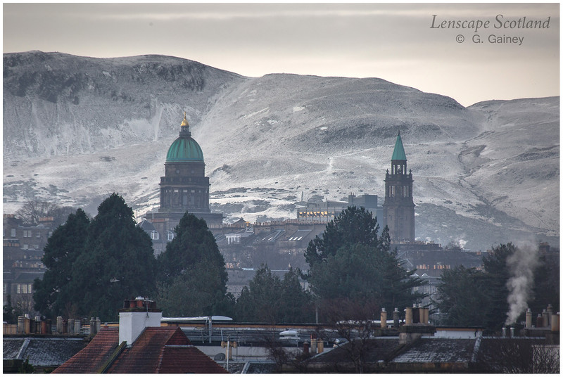 West Register House dome and Charlotte Chapel spire in a view from Goldenacre to the Pentland Hills (2)