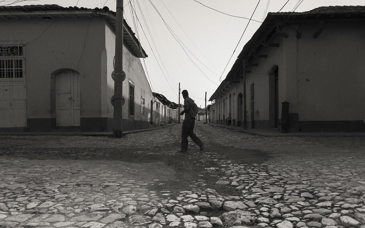 Trinidad Cuba Morning Rush BW