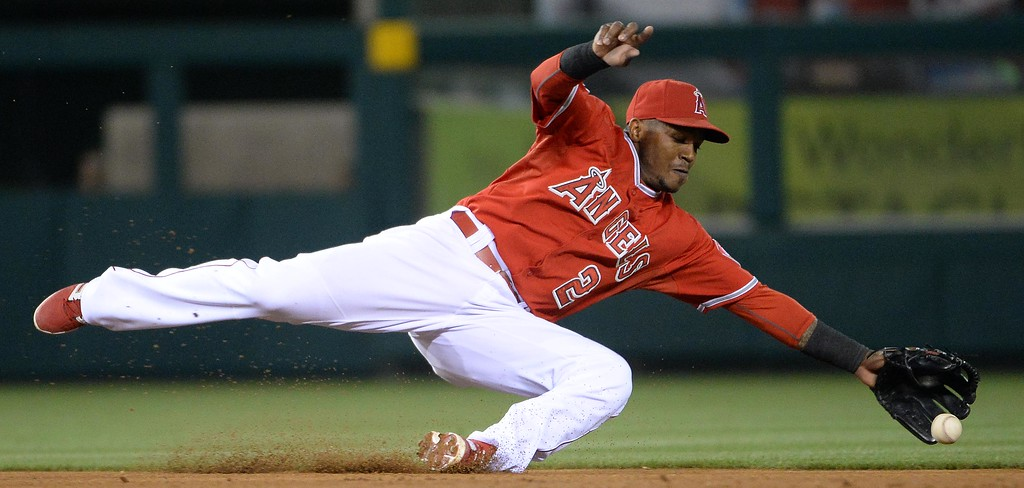 . New York Yankees\' Carlos Beltran (not pictured) singles past Los Angeles Angels shortstop Erick Aybar (2) in the eighth inning of a baseball game at Anaheim Stadium in Anaheim, Calif., on Tuesday, May 6, 2014.  (Keith Birmingham Pasadena Star-News)