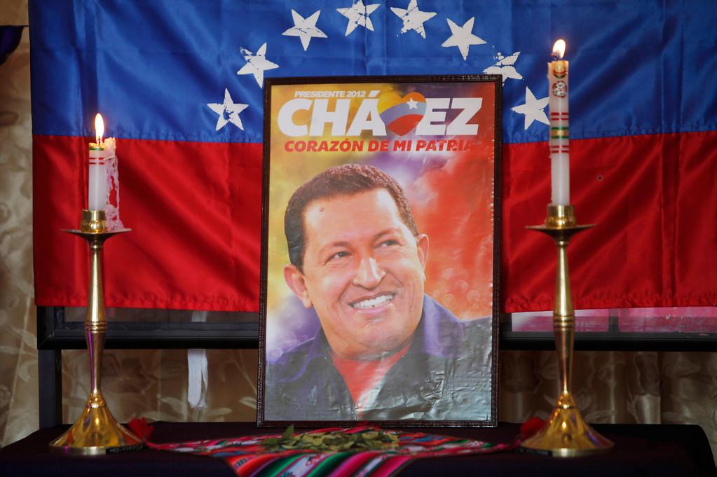 . An image of Venezuela\'s late President Hugo Chavez sits on display at a chapel inside Congress in La Paz, Bolivia, Wednesday, March 6, 2013.  (AP Photo/Juan Karita)