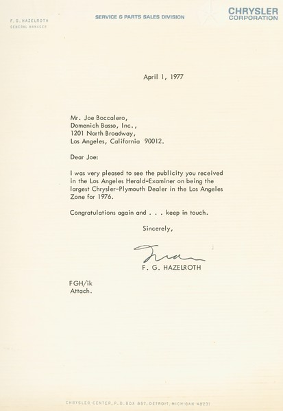 1977, Letter from Chrysler