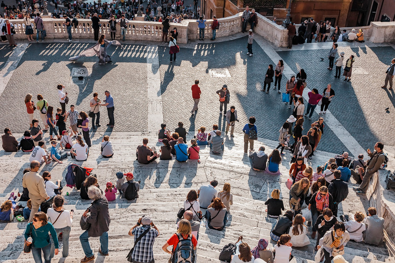 Tourists sitting on Spanish Steps in Rome, Italy