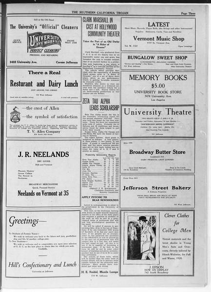 The Southern California Trojan, Vol. 12, No. 3, September 29, 1920