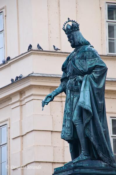 King Charles IV statue near Charles Bridge
