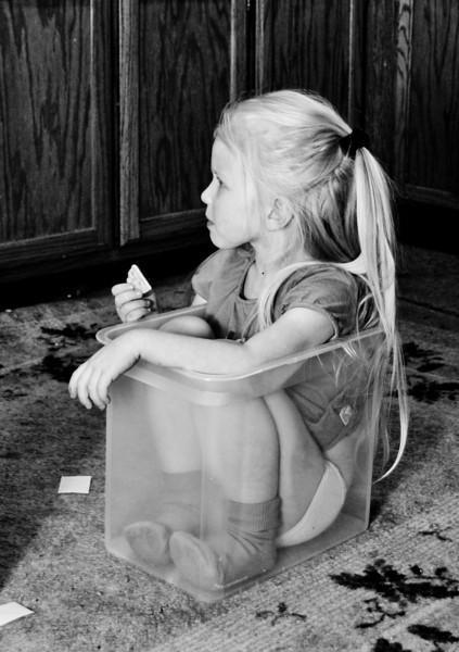 Chloe sat herself in this bucket - January 2010  100114_2098-2