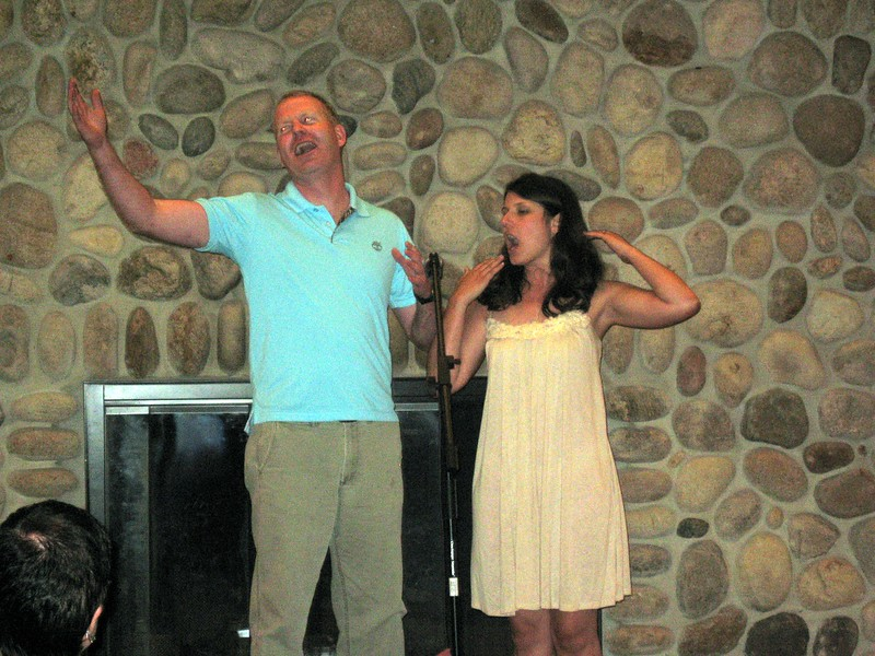 Joe (friend of the bride) and Abby serenade Hunter (stepbrother of the groom) with a special Happy Birthday