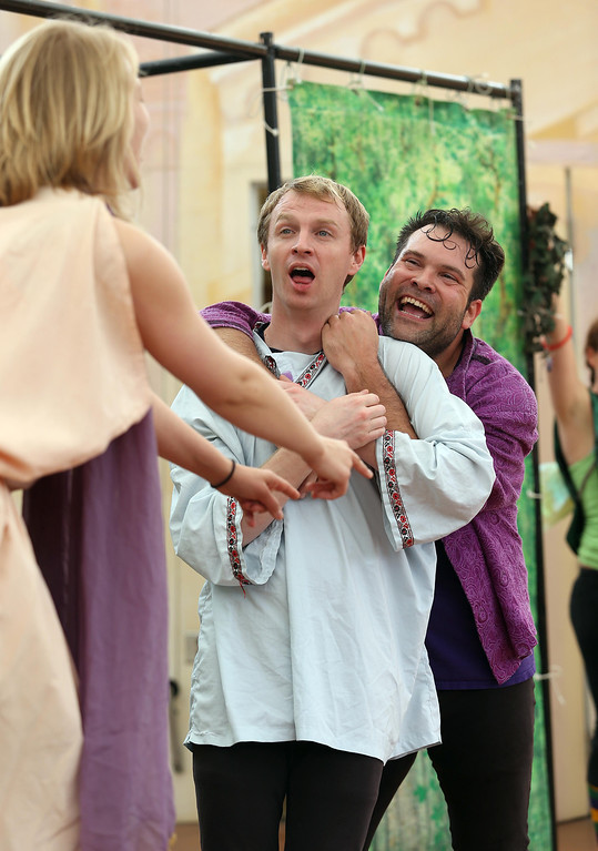 ". Steven Westdahl, right, Brandon Mears, center, and Amber Sommerfeld, left, perform in San Francisco Shakespeare\'s ""A Midsummer Night\'s Dream\"" on the Aesop\'s Playhouse stage at Children\'s Fairyland in Oakland, Calif., on Friday, March 15, 2013.  (Jane Tyska/Staff)"