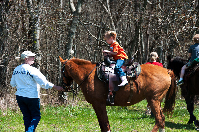 After a while, Thalia got to ride Boots, and Jackson was on Scout.