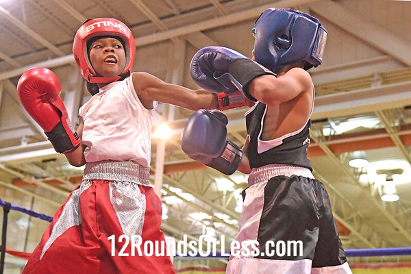 Bout 9 Yu'Shore Williams, Red Gloves, Bullpen, Toledo -vs- Kai Harris, Blue Gloves, CWCB Cinci, 60 Lbs, 10-11 Yrs,