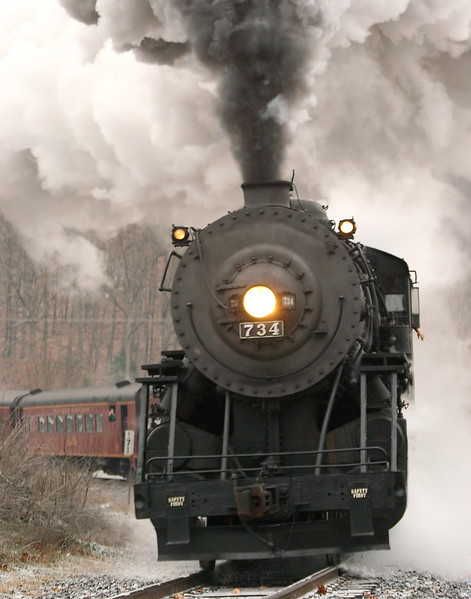 #734 steaming over the frozen tracks Western Maryland Scenic Railroad