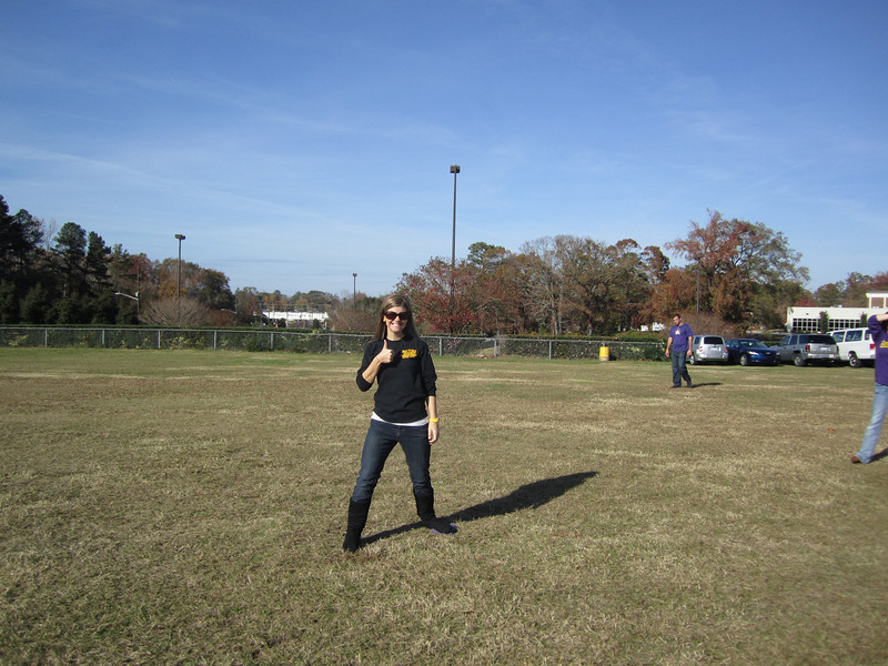 11/19/2011 ECU vs University of Central Florida - Jen playing kickball