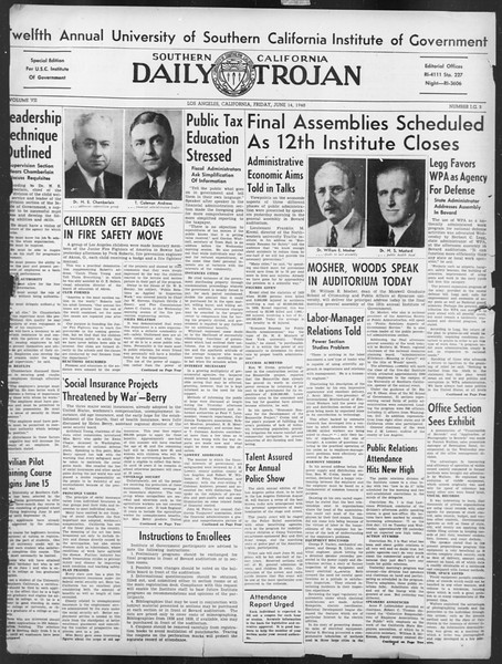 Southern California Daily Trojan: U.S.C. Institute of Government, Vol. 7, No. 3, June 14, 1940