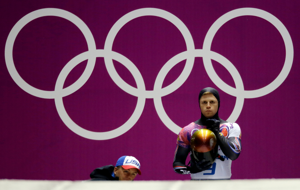 . John Daly of the United States prepares to start his final run during the men\'s skeleton competition at the 2014 Winter Olympics, Saturday, Feb. 15, 2014, in Krasnaya Polyana, Russia. (AP Photo/Dita Alangkara)