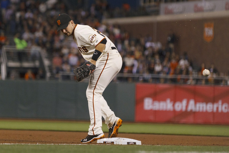 . Buster Posey #28 of the San Francisco Giants is unable to field a throw from Brandon Crawford (not pictured) during the fourth inning against the Colorado Rockies at AT&T Park on August 25, 2014 in San Francisco, California.  (Photo by Jason O. Watson/Getty Images)