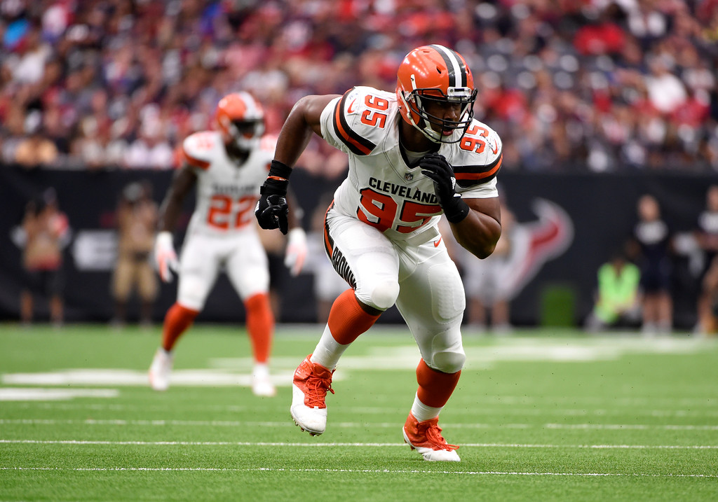 . Cleveland Browns defensive end Myles Garrett (95) charges from the line of scrimmage in the second half of an NFL football game against the Houston Texans on Sunday, Oct. 15, 2017, in Houston. (AP Photo/Eric Christian Smith)