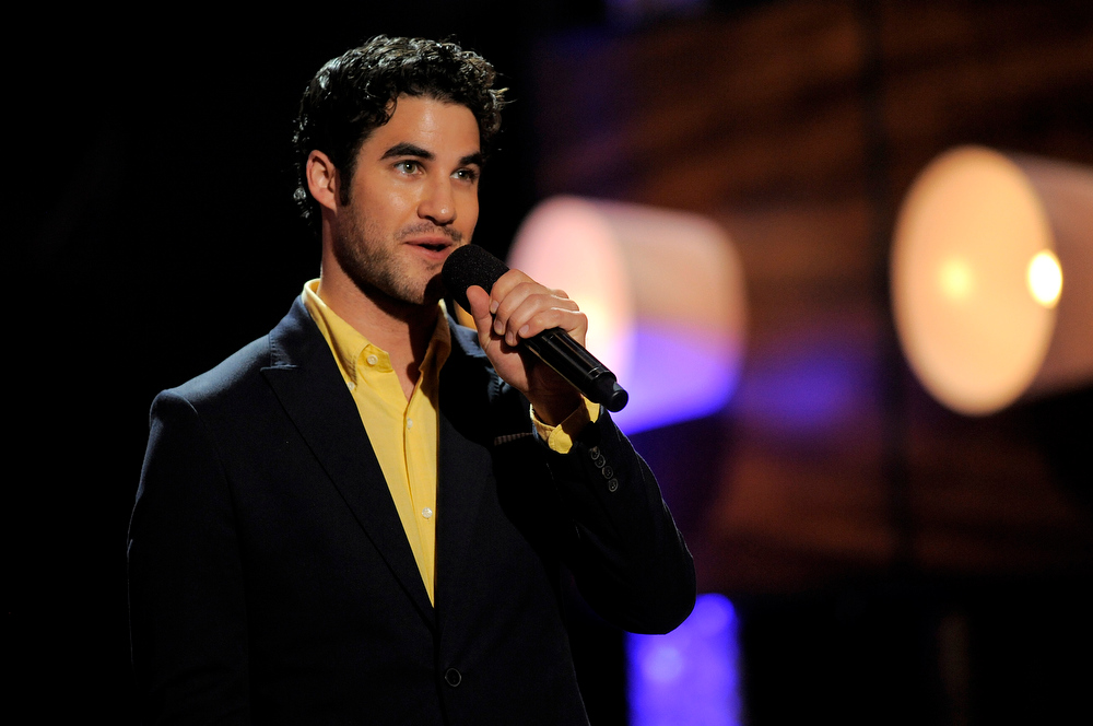. Actor Darren Criss speaks on stage at the Do Something Awards at the Avalon on Wednesday, July 31, 2013, in Los Angeles. (Photo by Chris Pizzello/Invision/AP)