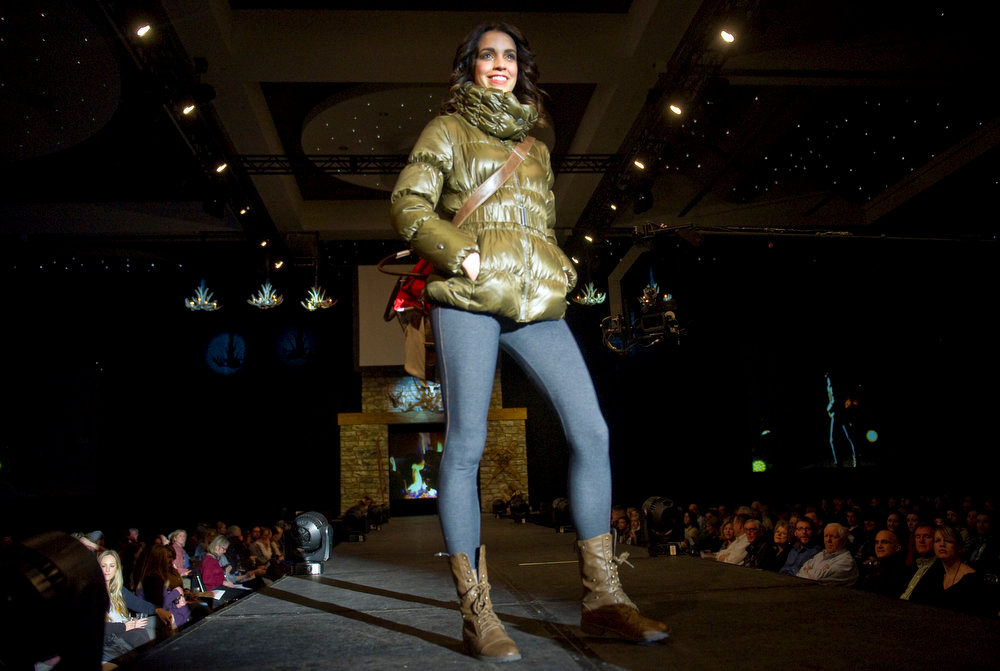 Description of . Neve Designs with denim leggings,  as the SIA Snow Show hosted its 2013 Snow Fashion & Trends Show at the Colorado Convention Center  in downtown Denver  on Wednesday, January 30, 2013.  (Photo By Cyrus McCrimmon / The Denver Post)
