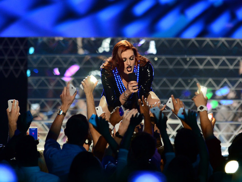 ". Caroline Hjelt of ""Icona Pop\"" performs  onstage during the 2013 Billboard Music Awards at the MGM Grand Garden Arena on May 19, 2013 in Las Vegas, Nevada.  (Photo by Ethan Miller/Getty Images)"