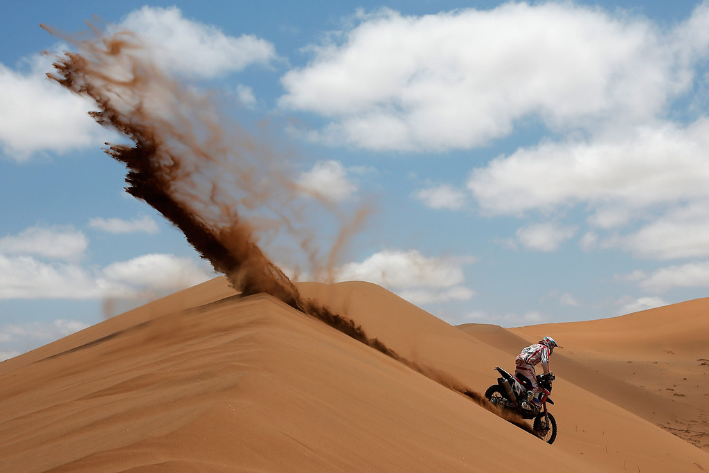 . EL SALVADOR, CHILE - JANUARY 17:  (#46) Pablo Rodriguez of Argentina for Honda Argentina Rally Team competes in stage 12 on the way to La Serena during Day 13 of the 2014 Dakar Rally on January 17, 2014 in El Salvador, Chile.  (Photo by Dean Mouhtaropoulos/Getty Images)