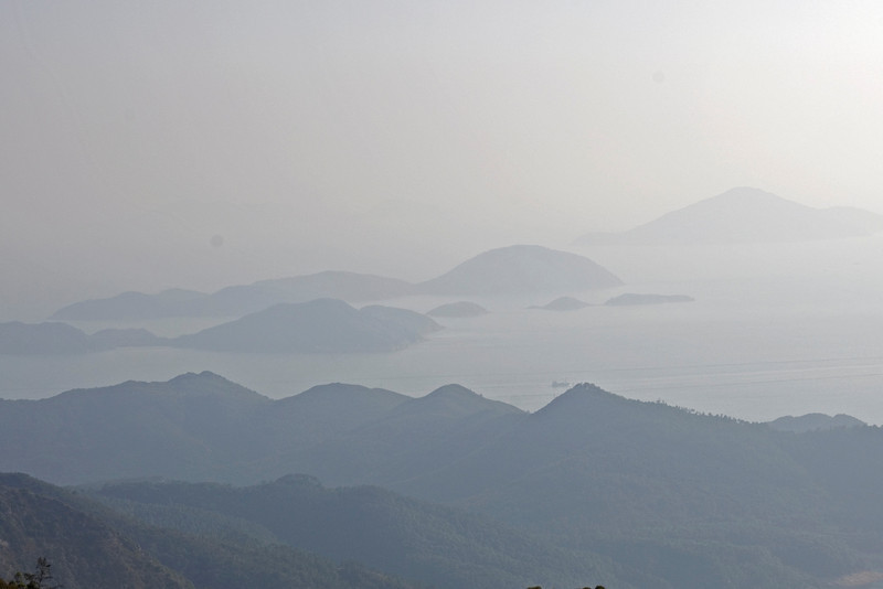View of the far off islands from the Po Lin Temple in Hong Kong