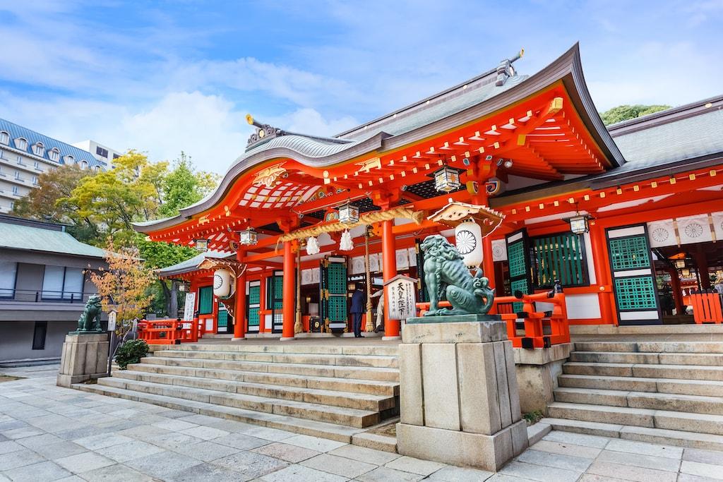 The main building of Ikuta Shrine in Kobe