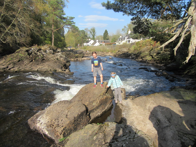 Enjoying the sun at the Falls of Dochart
