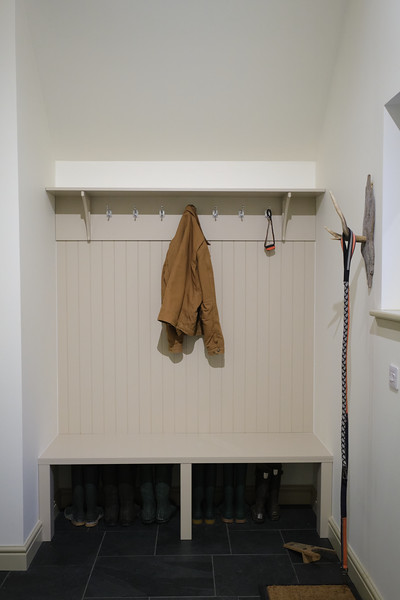 Custom made painter Birch ply shelf and brackets, and bench, lining boards between