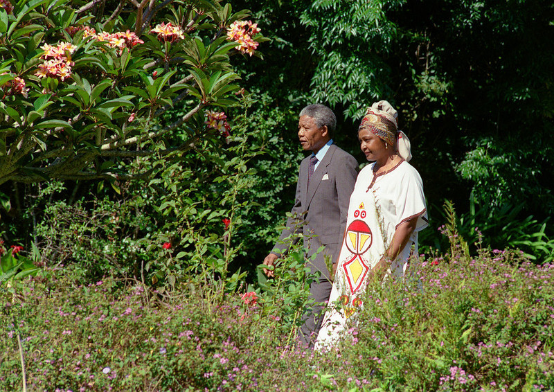 . Freed anti-apartheid leader and African National Congress (ANC) member Nelson Mandela (L) and his wife Winnie stroll, 12 February 1990, in the garden of Archbishop Desmond Tutu\'s residence in Cape Town, one day after the release from jail of Nelson Mandela.        (Photo credit should read WALTER DHLADHLA/AFP/Getty Images)