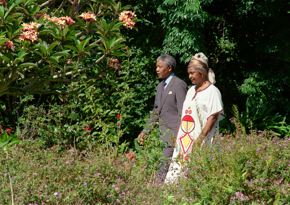 Description of . Freed anti-apartheid leader and African National Congress (ANC) member Nelson Mandela (L) and his wife Winnie stroll, 12 February 1990, in the garden of Archbishop Desmond Tutu's residence in Cape Town, one day after the release from jail of Nelson Mandela.        (Photo credit should read WALTER DHLADHLA/AFP/Getty Images)