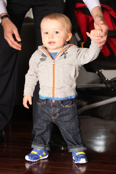 Luca loves his new stylish sneaks.  They make him walk super fast.