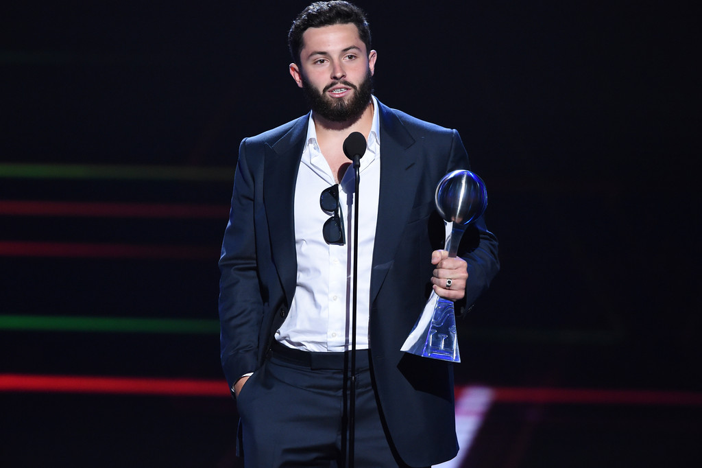 . Cleveland Browns\' Baker Mayfield accepts the award for best college athlete for his time with Oklahoma, at the ESPY Awards at Microsoft Theater on Wednesday, July 18, 2018, in Los Angeles. (Photo by Phil McCarten/Invision/AP)