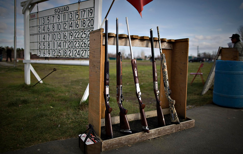. Shotguns sit in a rack on the shooting range of the Vancouver Gun Club in Richmond, British Columbia February 10, 2013. The Vancouver Gun Club is a shotgun only club and is popular with bird hunters to hone their skills in the off season. Formed in 1924, the club has a regular membership of about 400 and sells an estimated 1100 day passes each year. Canada has very strict laws controlling the use of handguns and violent crime is relatively rare. Picture taken February 10, 2013.   REUTERS/Andy Clark