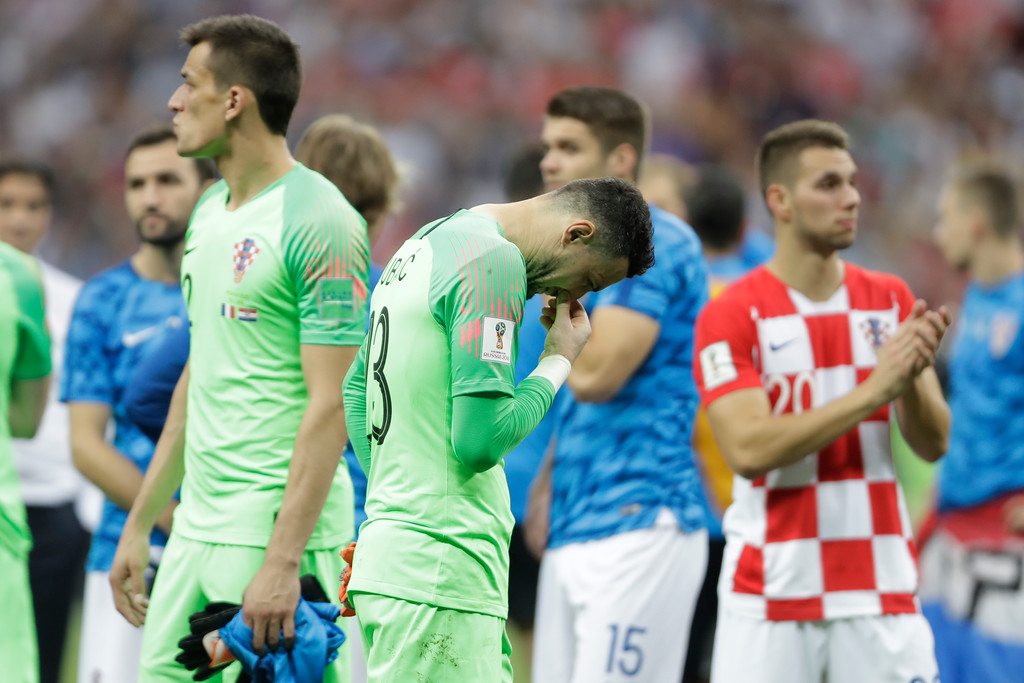 . Croatia goalkeeper Danijel Subasic looks down at the end of the final match between France and Croatia at the 2018 soccer World Cup in the Luzhniki Stadium in Moscow, Russia, Sunday, July 15, 2018. (AP Photo/Natacha Pisarenko)