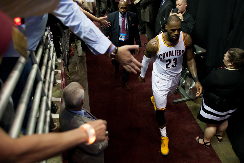 . LeBron James of the Cleveland Cavaliers walks into the locker room during game 4 of the NBA Finals against the Golden State Warriors at the Quicken Loans Arena on June 10, 2017.  The Cavs defeated the Warriors 137-116.