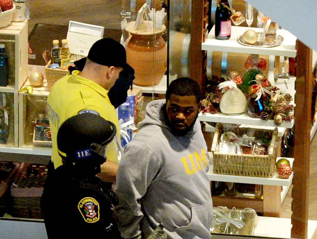 . A man is arrested during the Black Lives Matter demonstration at the Mall of America. (Pioneer Press: John Autey)