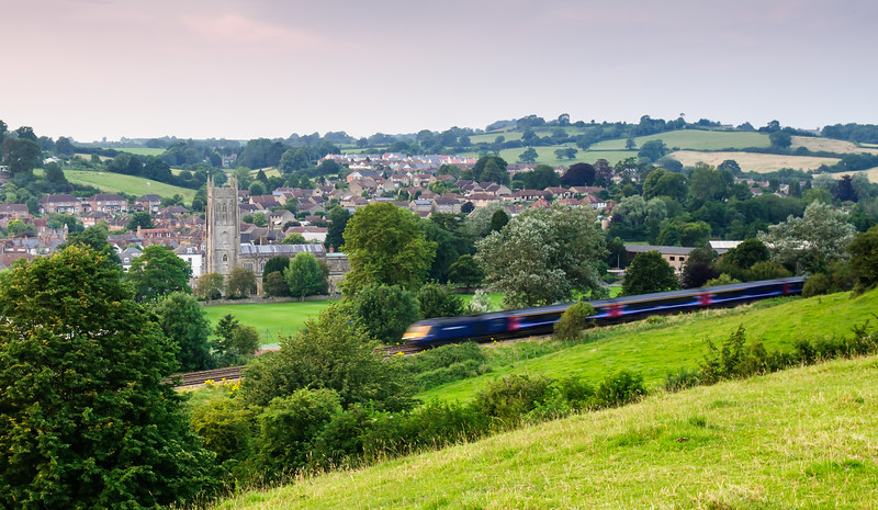 High Speed Train passing Bruton in Somerset