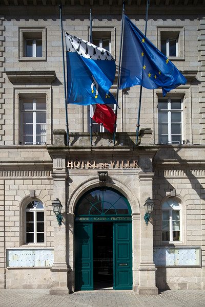 City Hall, town of Quimper, departament of Finistere, region of Brittany, France