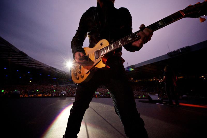 . July 3, 2013 - Jon Bon Jovi performs on stage with his band Bon Jovi at Hampden Park in Glasgow, Scotland on July 3, 2013.  (Photo credit: David Bergman / Bon Jovi)