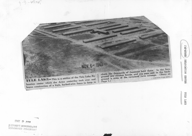 """""""Tule Lake -- This is a section of the Tule Lake Relocation center which the Army yesterday took over and began construction of a high, barbed-wire fence to keep in check the thousands of Japanese held there"""" -- caption on photograph back"""