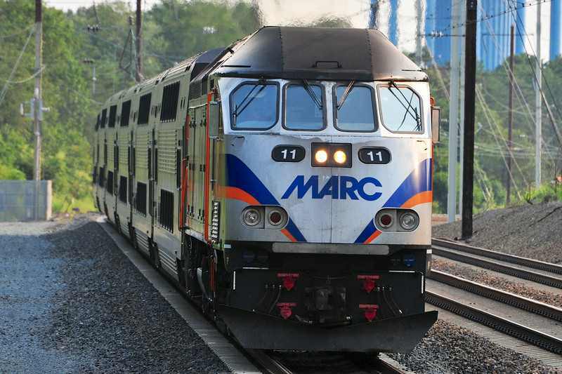 MP-36 #11, one of the first MP-36's to enter revenue service leads MARC 440 with a load of tired commuters into Odenton.