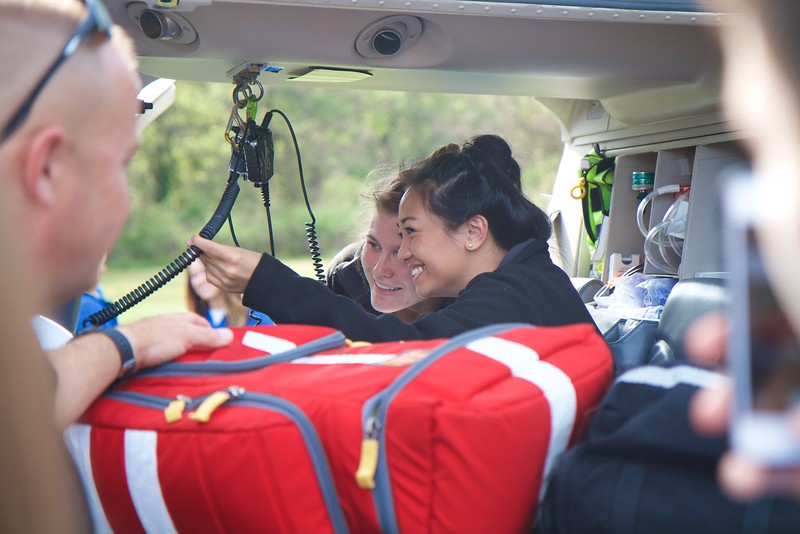 GWU PA Students got the chance to explore a medical emergency helicopter and discuss details with the crew.