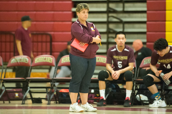 04/22/19 Wesley Bunnell | Staff New Britain volleyball was defeated by South Windsor at home on Monday evening. Head Coach Michelle Abraham.