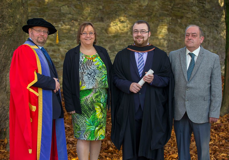 04/11/2016. Waterford Institute of Technology (WIT) Conferring Ceremonies November 2016:  Pictured is William Ryan from New Ross who graduated, also pictured are Aine and Liam Ryan with Dr Derek O'Byrne, Registrar WIT. Picture: Patrick Browne